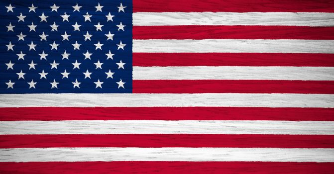 USA flag on wood texture