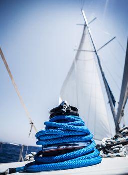 Closeup on yacht cord crank