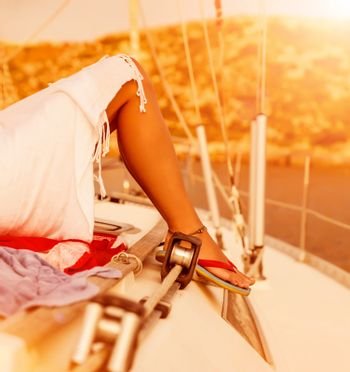 Woman relaxed on the yacht