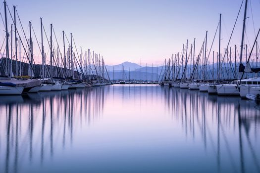 Yacht harbor in sunset