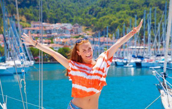Happy woman in yacht port