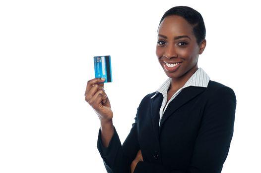 Businesswoman displaying credit card