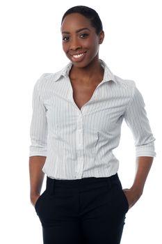 Stylish confident female secretary