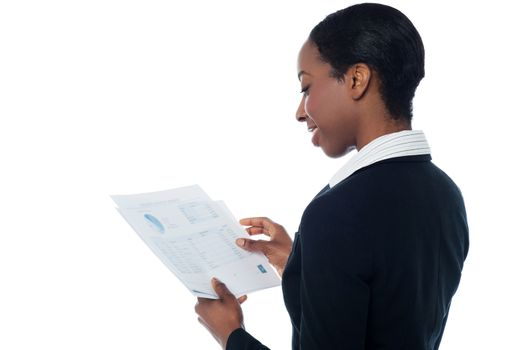 Employer reviewing annual report