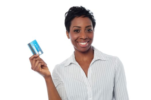 Woman displaying her cash card