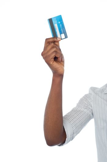 Han holding out debit card, cropped image