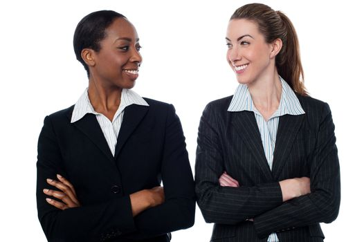 Attractive smiling female executives