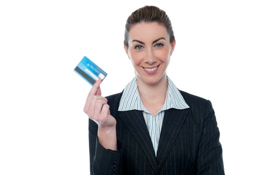 Businesswoman showing her cash card