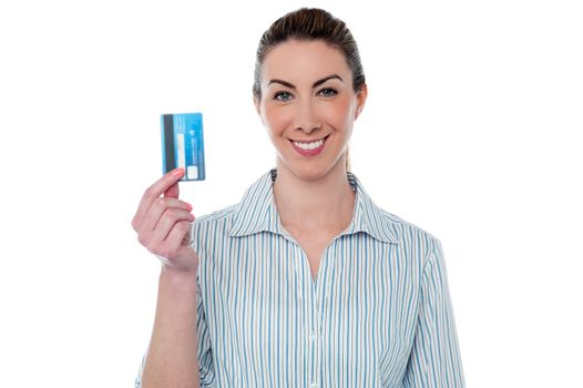 Woman showing her atm card