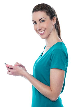 Pretty lady sending text message