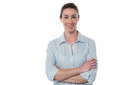 Attractive confident female employer