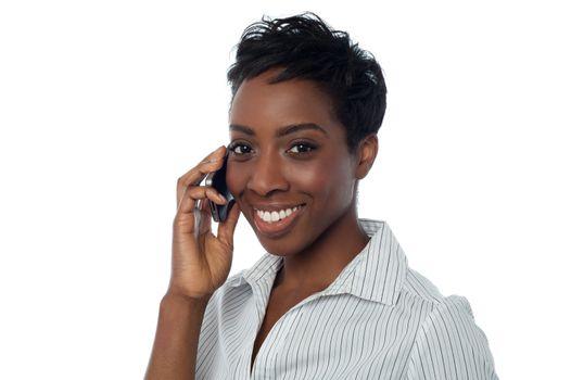 African businesswoman communicating