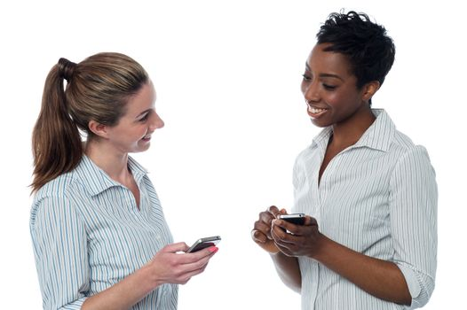 Two corporate women having a discussion