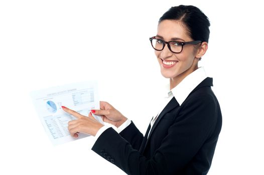 Businesswoman sharing annual reports
