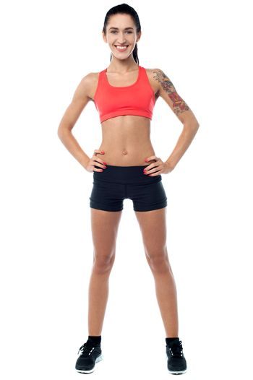 Slim athletic smiling girl