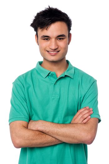 Portrait of charming young asian guy