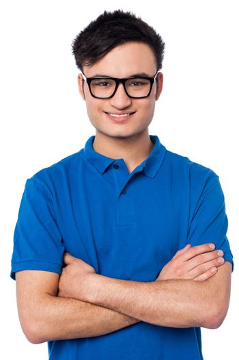 Smart smiling guy wearing spectacles
