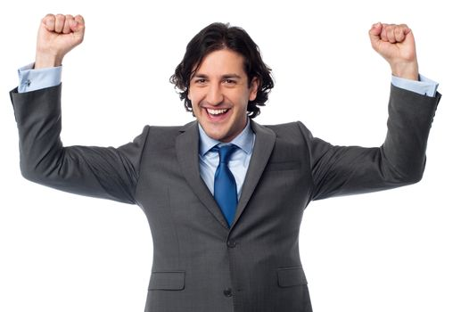 Successful excited male entrepreneur