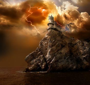 Lightning over the castle