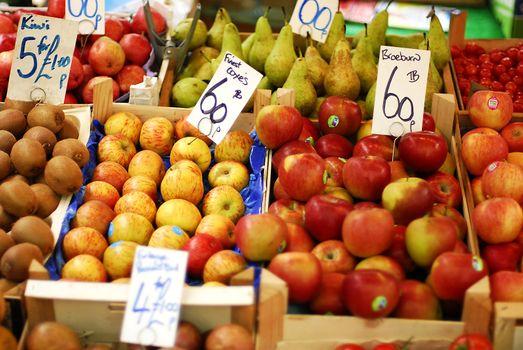 An outdoor fruit market