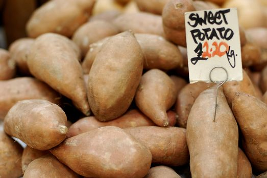 Sweet potatoes at a farmers market