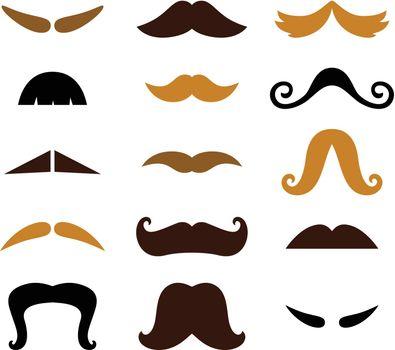 Retro Mustaches Hipster set. Vector Illustration