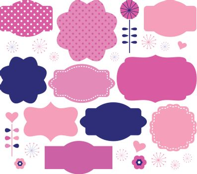 Colorful vintage labels and design elements - pink and blue. Vector