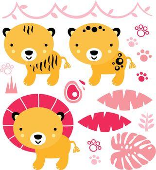 Safari baby animals collection. Vector Illustration
