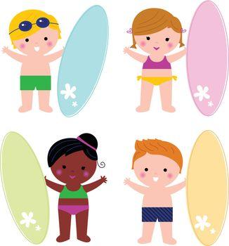Summer multicultural surfing kids. Vector illustration