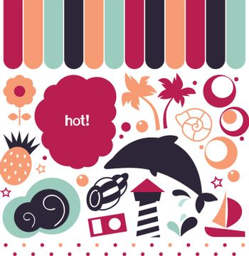 Colorful vintage summer set. Vector Illustration in retro style