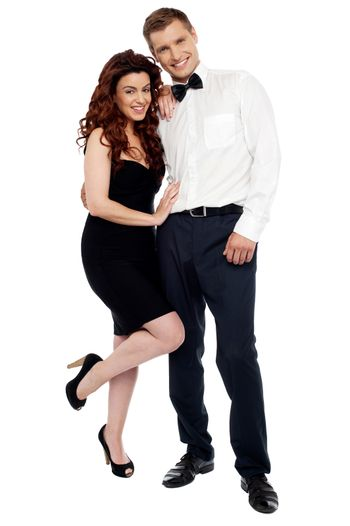 Full length portrait of attractive couple