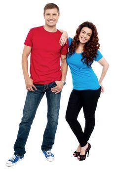 Girlfriend resting hands on her boyfriends shoulder