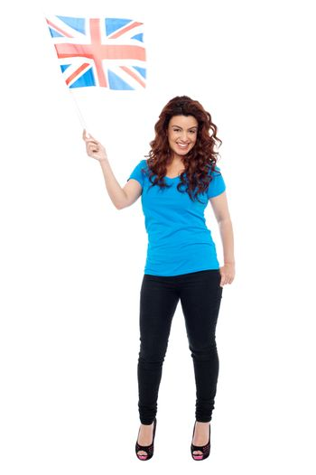 UK female supporter posing with flag