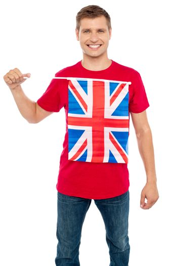 Cool guy with idea of UK flag on t-shirt