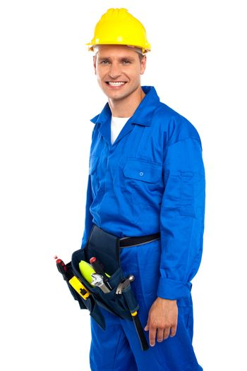 Young smiling industrial contractor