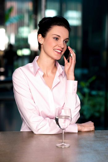 Female entrepreneur in middle of conversation