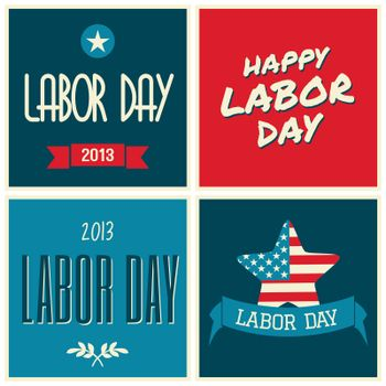 A set of retro typographic design cards for the US Labor day.