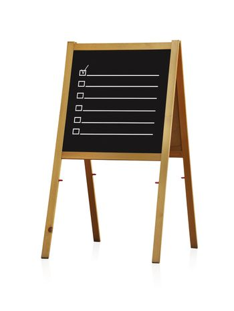 chalk board with checkbox