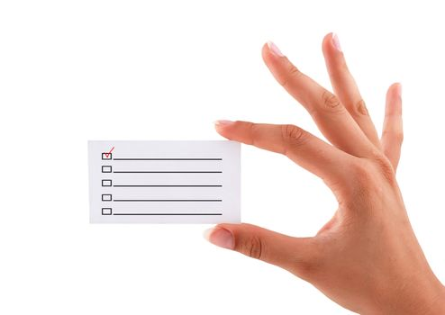 business card with checkbox