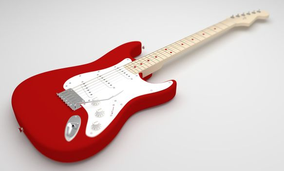 A CGI image of a red and white electric guitar on a white background.