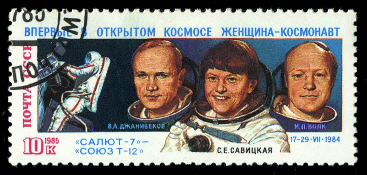 USSR - CIRCA 1985: An airmail stamp printed in USSR shows spacemen, series, circa 1985.