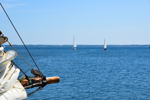 Sailing on the Baltic sea towards the island Oland in Sweden