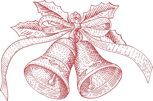 Illustration of Christmas bells with ribbon set in white background done in retro style.