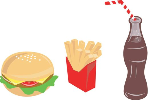 Illustration of food burger fries drink done in retro style.