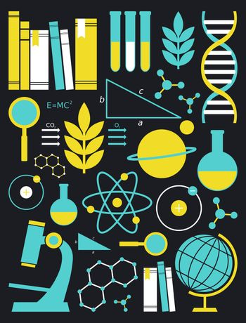A set of science and education symbols in white, yellow and blue.