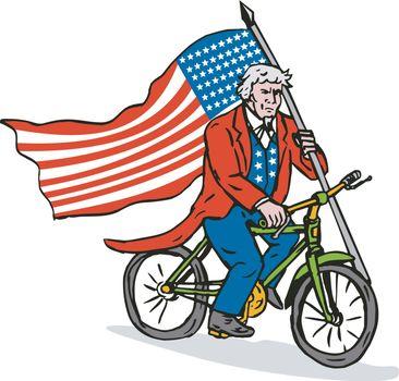 Uncle Sam Riding Bike