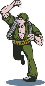 Soldier Running Punch