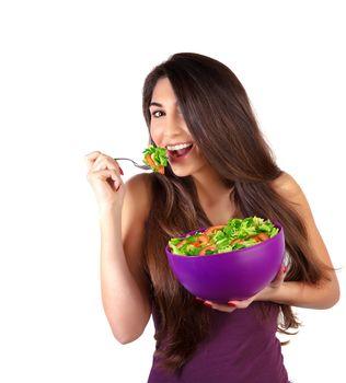 Attractive female eat salad