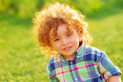 Cheerful boy outdoors
