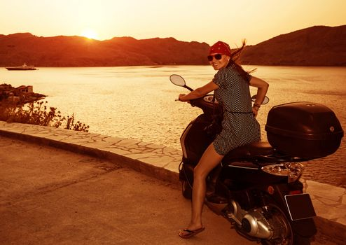 Pretty woman on motorcycle